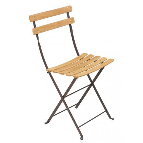 Chaise BISTRO NATUREL bois de Fermob, rouille