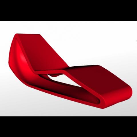 Chaise longue ORGANIC Qui est Paul Rouge Coussin Gris