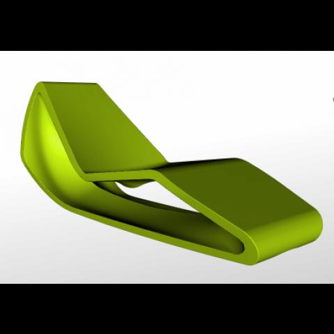 Chaise longue ORGANIC Qui est Paul Vert Coussin Gris