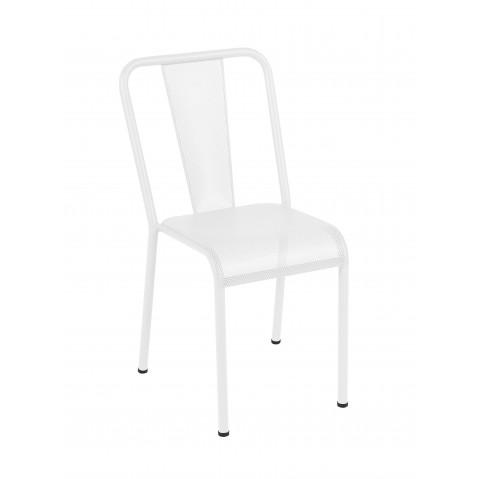Chaise T37 perforée de Tolix acier laqué, Blanc