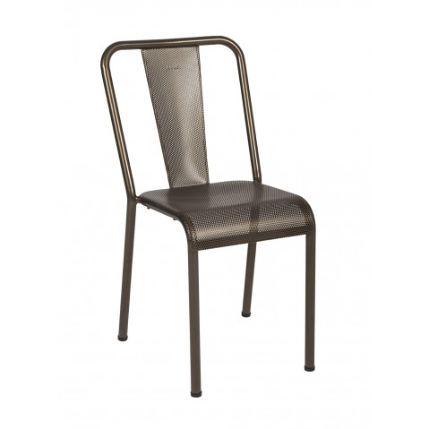 Chaise T37 perforée de Tolix, Bronze mat