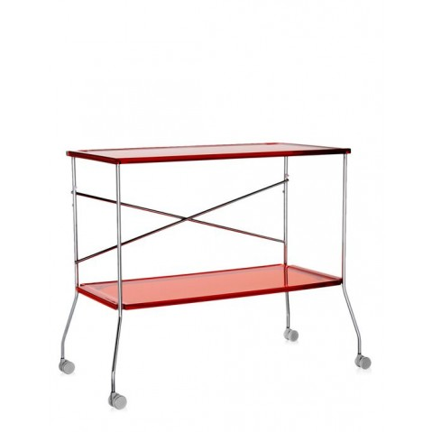 Chariot avec roulettes FLIP  de Kartell, Rouge Orangé Transparent
