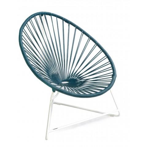 fauteuil acapulco enfant de boqa avec structure blanche bleu canard. Black Bedroom Furniture Sets. Home Design Ideas