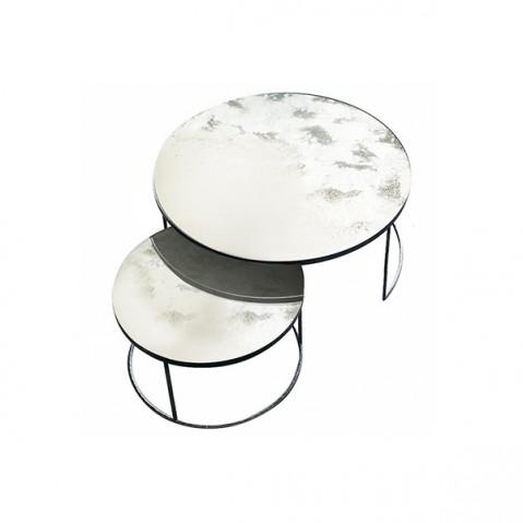 Set Round Nesting Coffee Table Clear - Heavy Aged Mirror de Notre Monde