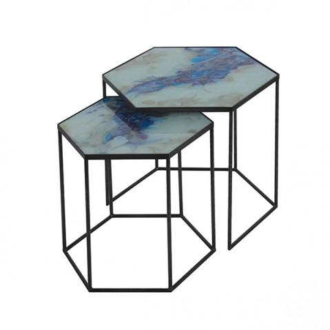 Set Hexagon Side Tables - Cobalt Mist Organic de Notre Monde
