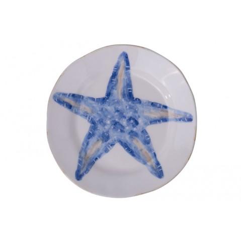 Di Mare Assiette Etoile de mer de Flamant, Bleu