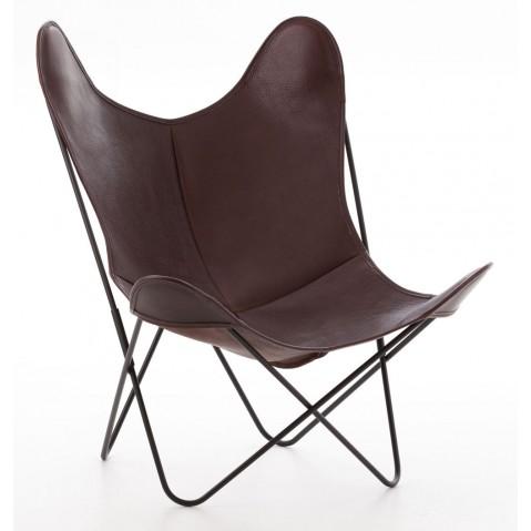 Fauteuil AA de Airborne, structure acier thermolaqué noir, cuir chocolat Buffalo