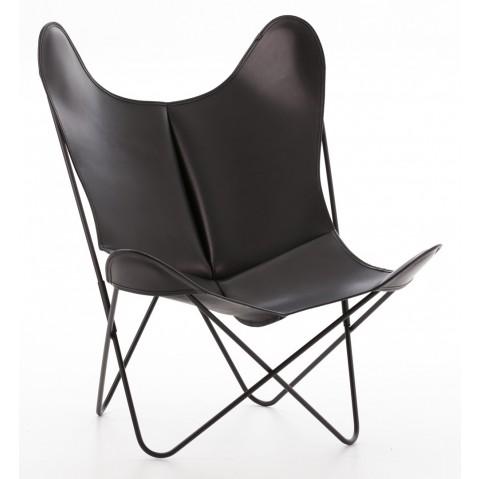 Fauteuil AA de Airborne, structure acier thermolaqué noir, cuir classique, Noir