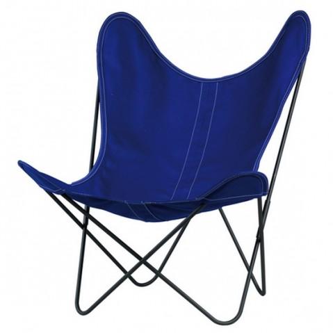 Fauteuil AA de Airborne, structure acier thermolaqué noir, toile bleu