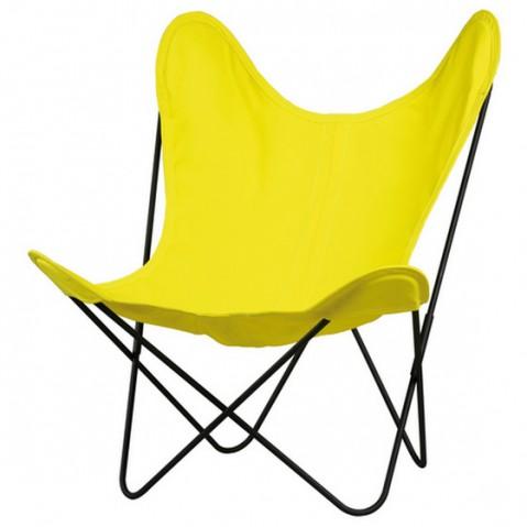 Fauteuil AA de Airborne, structure acier thermolaqué noir, toile jaune