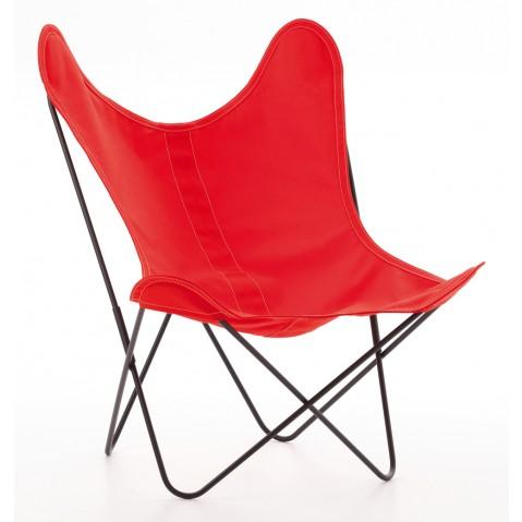 Fauteuil AA de Airborne, structure acier thermolqué noir, toile rouge