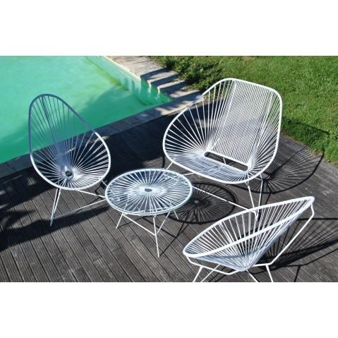 fauteuil acapulco de boqa avec structure blanche vert anis. Black Bedroom Furniture Sets. Home Design Ideas