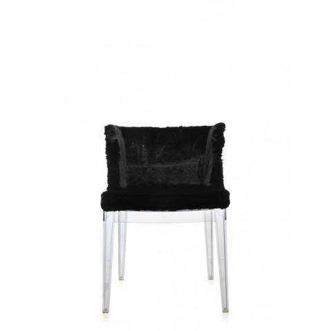 Fauteuil MADEMOISELLE KRAVITZ de Kartell,  Fourrure, Cuir Noir, Structure transparente