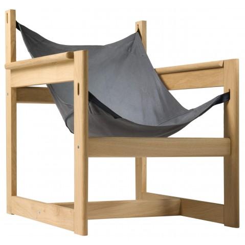 Fauteuil PELICANO de Objekto, Gris-Bleu, Structure en chêne