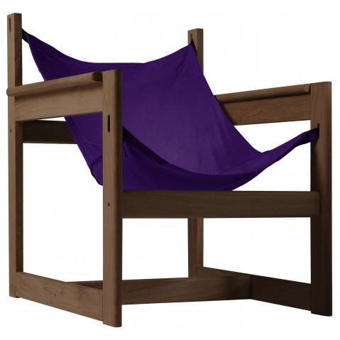 Fauteuil PELICANO de Objekto, Violet, Structure en noyer
