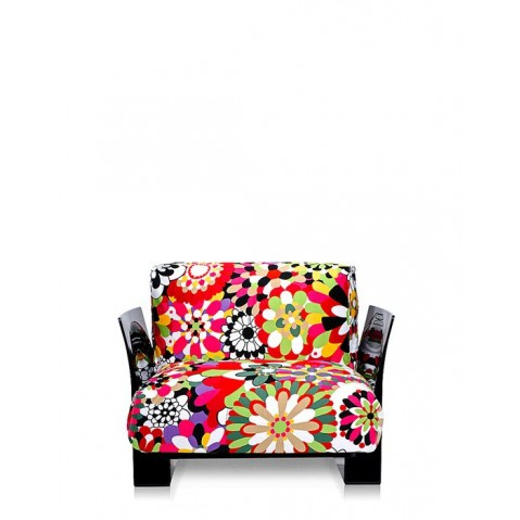 Fauteuil POP MISSONI de Kartell, Vevey Tons Rouges, Structure noir