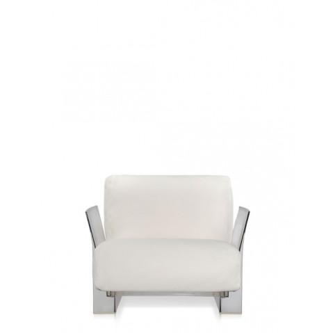 Fauteuil POP OUTDOOR de Kartell, Blanc, Structure transparente