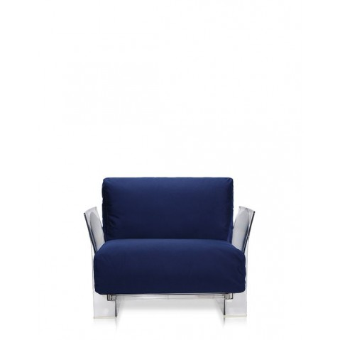 Fauteuil POP OUTDOOR de Kartell, Bleu, Structure transparente