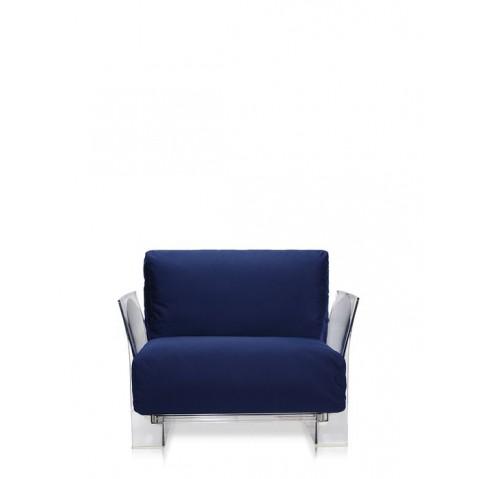 Fauteuil POP OUTDOOR de Kartell, Bleu, Structure transparente