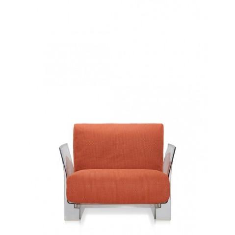 Fauteuil POP OUTDOOR de Kartell, Orange, Structure transparente