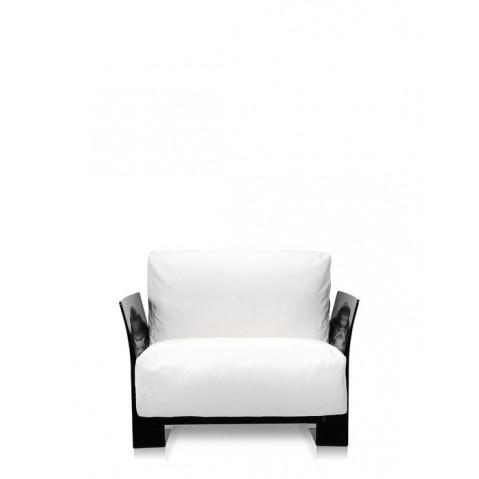 Fauteuil POP OUTDOOR de Kartell, Sunbrella Blanc, Structure noir