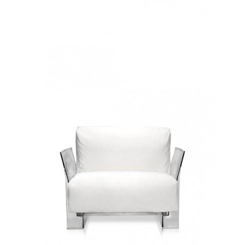 Fauteuil POP OUTDOOR de Kartell, Sunbrella Blanc, Structure transparente