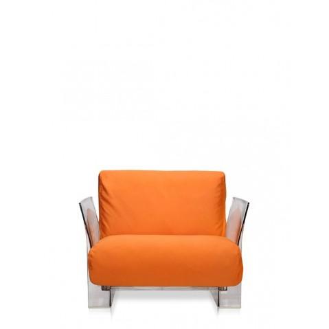 Fauteuil POP OUTDOOR de Kartell, Sunbrella Orange, Structure transparente