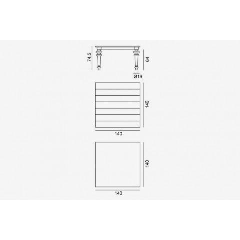 Table GRAY de Gervasoni plateau noyer et pieds noyer 140 cm 32 LG