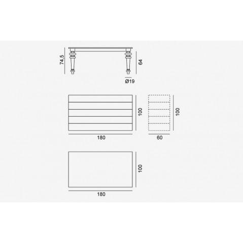 Table GRAY de Gervasoni plateau noyer et pieds noyer 180 cm 34 LG