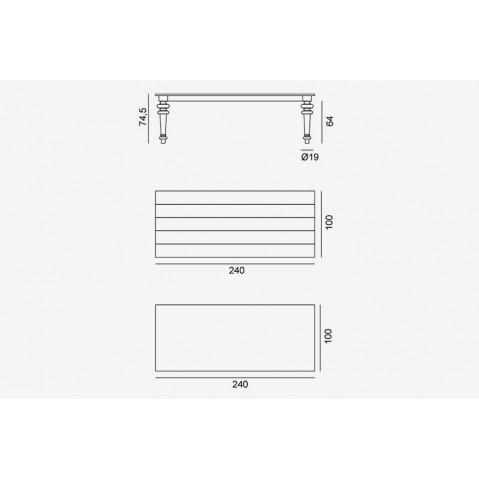 Table GRAY de Gervasoni plateau noyer et pieds noyer 240 cm 33 LG