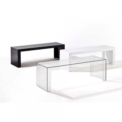 Table Basse Invisible Side H 40 Cm De Kartell Blanc