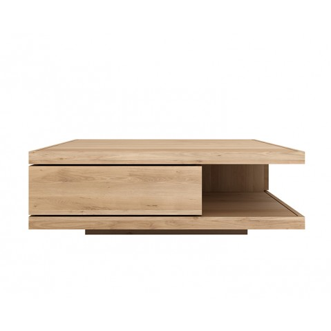 table basse oak flat d 39 ethnicraft 2 tiroirs largeur 110cm. Black Bedroom Furniture Sets. Home Design Ideas