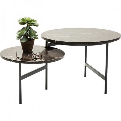 Table basse MONOCLE 110X60 avec 2 plateaux en marbre