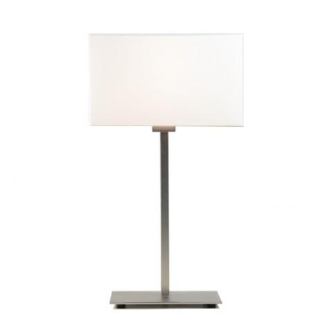 Lampe à poser PARK LANE nickel mat et son abat-jour blanc
