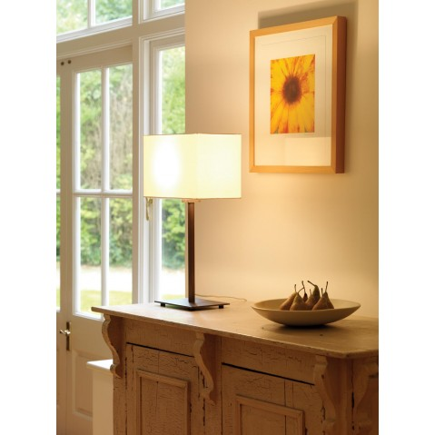lampe poser park lane nickel mat et son abat jour blanc. Black Bedroom Furniture Sets. Home Design Ideas
