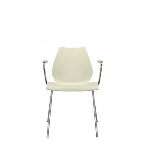 Lot de 2 chaises avec accoudoirs MAUI de Kartell, Jaune lait