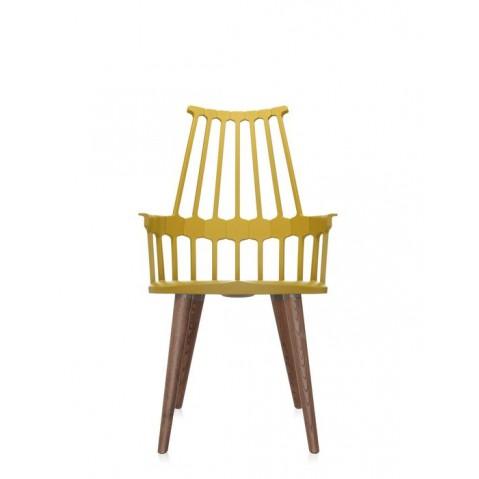 Lot de 2 chaises COMBACK de Kartell, Jaune-chêne