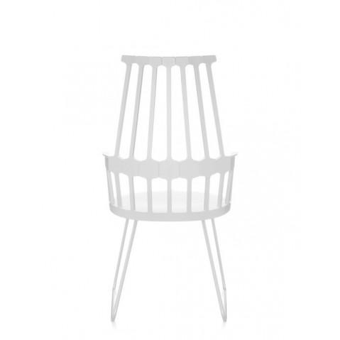 Lot de 2 chaises COMBACK de Kartell, Pieds traîneau, Blanc blanc