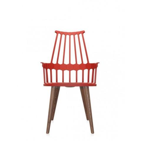 Lot de 2 chaises COMBACK de Kartell , Rouge orangé-chêne