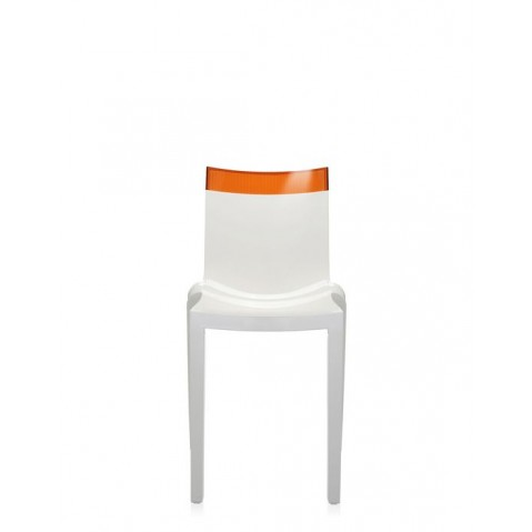 Lot de 2 chaises HI-cut de Kartell, Orange, Structure Blanche