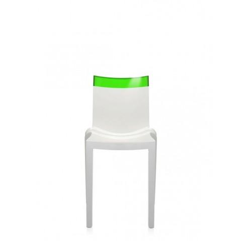 Lot de 2 chaises HI-cut de Kartell, vert, Structure Blanche