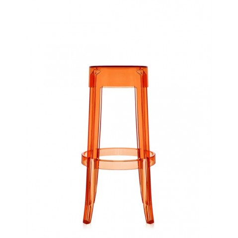 Lot de 2 tabourets H.75 CHARLES GHOST de Kartell, Orange transparent