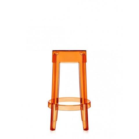 Tabouret L.65 X H.65 CHARLES GHOST de Kartell, Orange transparent