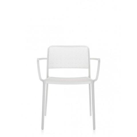 Lots de 2 chaises avec accoudoirs AUDREY de Kartell, Blanc blanc