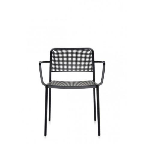 Lots de 2 chaises avec accoudoirs AUDREY de Kartell, Noir-Noir