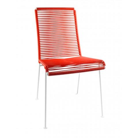 Chaise MAZUNTE de Boqa avec structure blanche, Rouge de Mars
