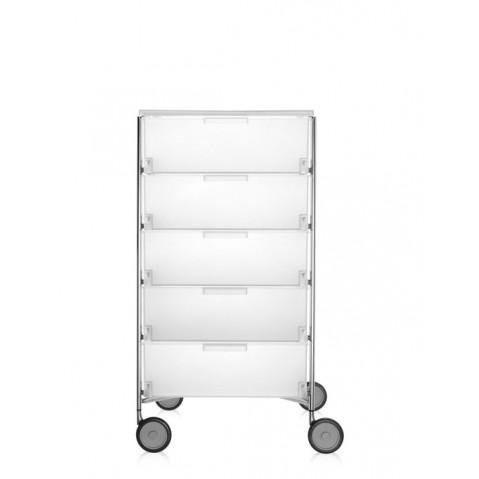 Meuble de rangement MOBIL Cinq étagère de Kartell, Blanc Glace, Avec roulettes
