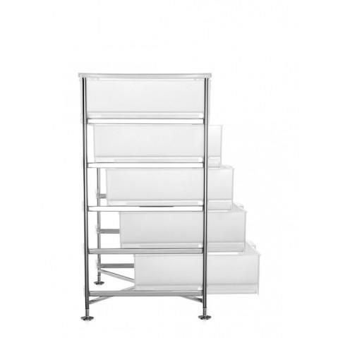 meuble de rangement mobil cinq tag res de kartell blanc glace simple. Black Bedroom Furniture Sets. Home Design Ideas