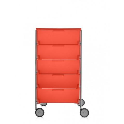 Meuble de rangement MOBIL Cinq étagère de Kartell, Orange, Avec roulettes