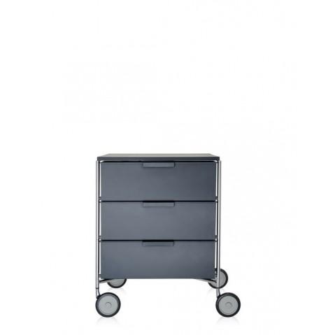 Meuble de rangement MOBIL trois étagère de Kartell, Ardoise Opaque, Avec roulettes